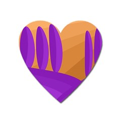 Orange and purple landscape Heart Magnet