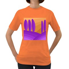 Orange and purple landscape Women s Dark T-Shirt