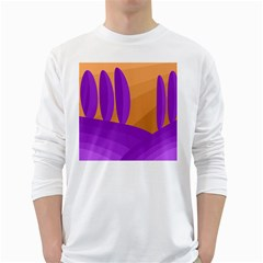 Orange and purple landscape White Long Sleeve T-Shirts