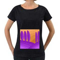 Orange and purple landscape Women s Loose-Fit T-Shirt (Black)
