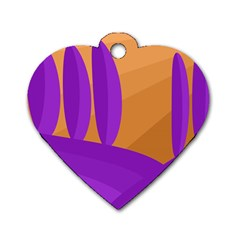 Orange and purple landscape Dog Tag Heart (Two Sides)