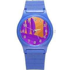 Orange and purple landscape Round Plastic Sport Watch (S)