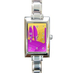 Yellow and magenta landscape Rectangle Italian Charm Watch
