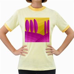 Yellow and magenta landscape Women s Fitted Ringer T-Shirts