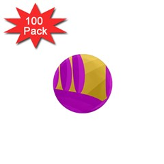 Yellow and magenta landscape 1  Mini Magnets (100 pack)