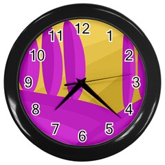 Yellow and magenta landscape Wall Clocks (Black)