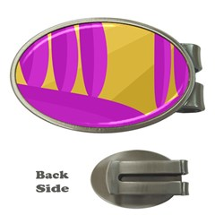 Yellow and magenta landscape Money Clips (Oval)