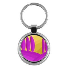 Yellow and magenta landscape Key Chains (Round)