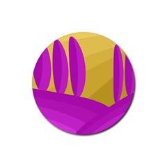 Yellow and magenta landscape Rubber Round Coaster (4 pack)