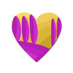 Yellow and magenta landscape Heart Magnet