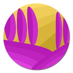 Yellow and magenta landscape Magnet 5  (Round)