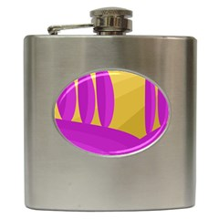 Yellow and magenta landscape Hip Flask (6 oz)