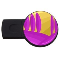 Yellow and magenta landscape USB Flash Drive Round (2 GB)