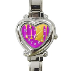 Yellow and magenta landscape Heart Italian Charm Watch