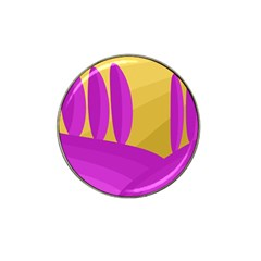 Yellow and magenta landscape Hat Clip Ball Marker (4 pack)