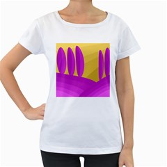Yellow and magenta landscape Women s Loose-Fit T-Shirt (White)