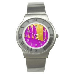 Yellow and magenta landscape Stainless Steel Watch