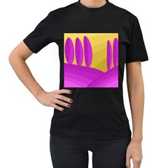 Yellow and magenta landscape Women s T-Shirt (Black)