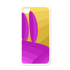 Yellow and magenta landscape Apple iPhone 4 Case (White)