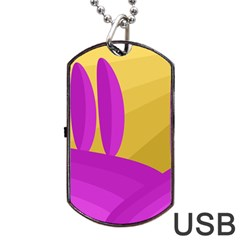 Yellow and magenta landscape Dog Tag USB Flash (One Side)