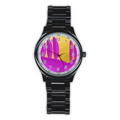 Yellow and magenta landscape Stainless Steel Round Watch