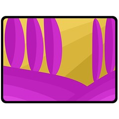 Yellow and magenta landscape Double Sided Fleece Blanket (Large)