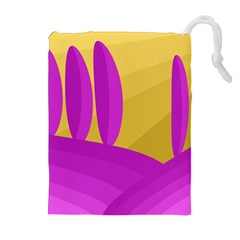 Yellow and magenta landscape Drawstring Pouches (Extra Large)