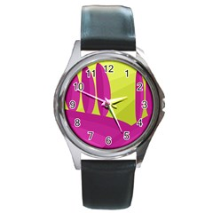 Yellow and pink landscape Round Metal Watch