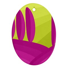 Yellow and pink landscape Ornament (Oval)