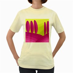 Yellow and pink landscape Women s Yellow T-Shirt