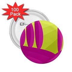 Yellow and pink landscape 2.25  Buttons (100 pack)
