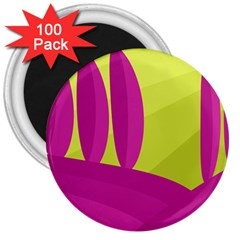 Yellow and pink landscape 3  Magnets (100 pack)