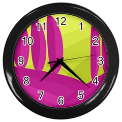 Yellow and pink landscape Wall Clocks (Black)