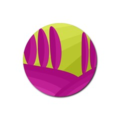 Yellow and pink landscape Rubber Coaster (Round)
