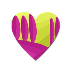 Yellow and pink landscape Heart Magnet