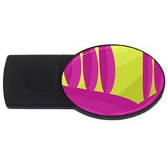 Yellow and pink landscape USB Flash Drive Oval (2 GB)