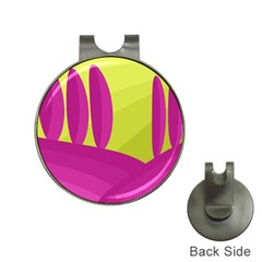 Yellow and pink landscape Hat Clips with Golf Markers