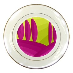 Yellow and pink landscape Porcelain Plates