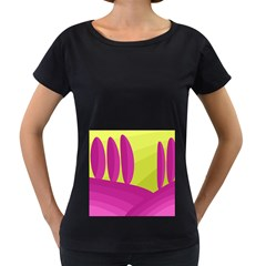 Yellow and pink landscape Women s Loose-Fit T-Shirt (Black)