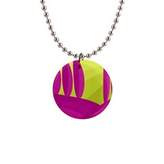 Yellow and pink landscape Button Necklaces