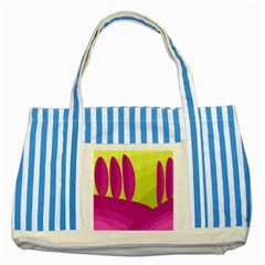 Yellow and pink landscape Striped Blue Tote Bag