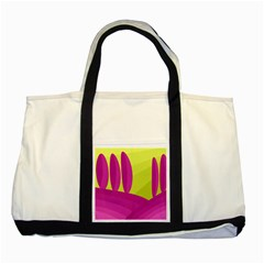 Yellow and pink landscape Two Tone Tote Bag