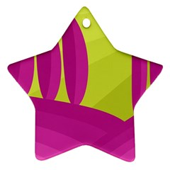 Yellow and pink landscape Star Ornament (Two Sides)