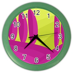 Yellow and pink landscape Color Wall Clocks