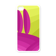 Yellow and pink landscape Apple iPhone 4 Case (White)