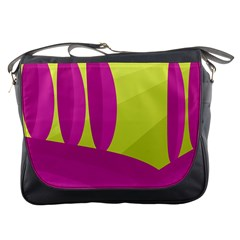 Yellow and pink landscape Messenger Bags