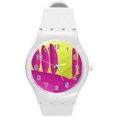 Yellow and pink landscape Round Plastic Sport Watch (M)