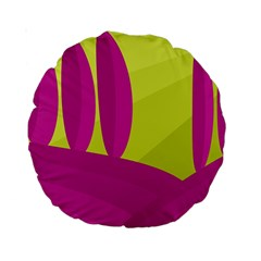Yellow and pink landscape Standard 15  Premium Round Cushions