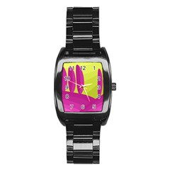 Yellow and pink landscape Stainless Steel Barrel Watch