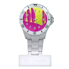 Yellow and pink landscape Plastic Nurses Watch